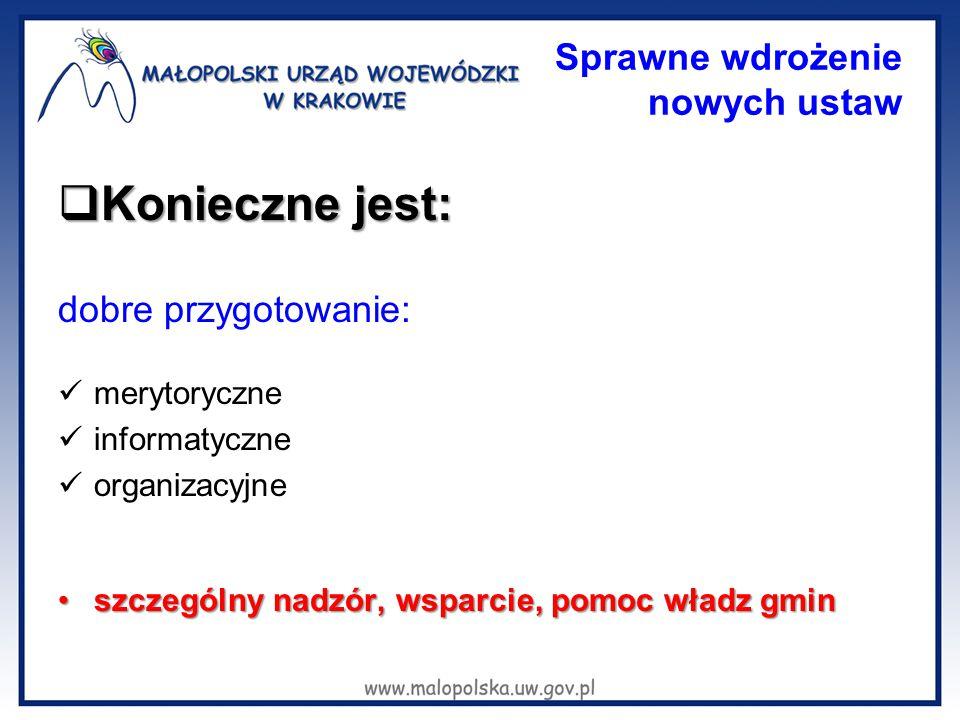 Sprawne wdrożenie nowych ustaw  Konieczne jest: dobre przygotowanie: merytoryczne informatyczne organizacyjne szczególny nadzór, wsparcie, pomoc wład