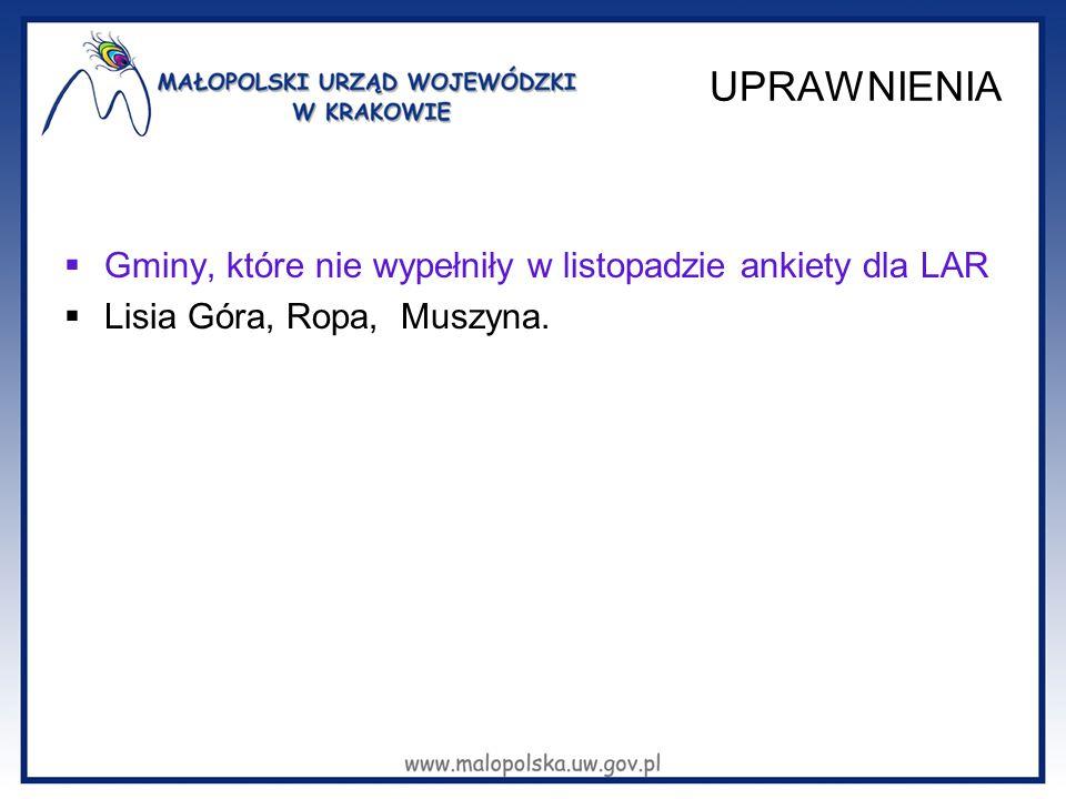 UPRAWNIENIA  Gminy, które nie wypełniły w listopadzie ankiety dla LAR  Lisia Góra, Ropa, Muszyna.