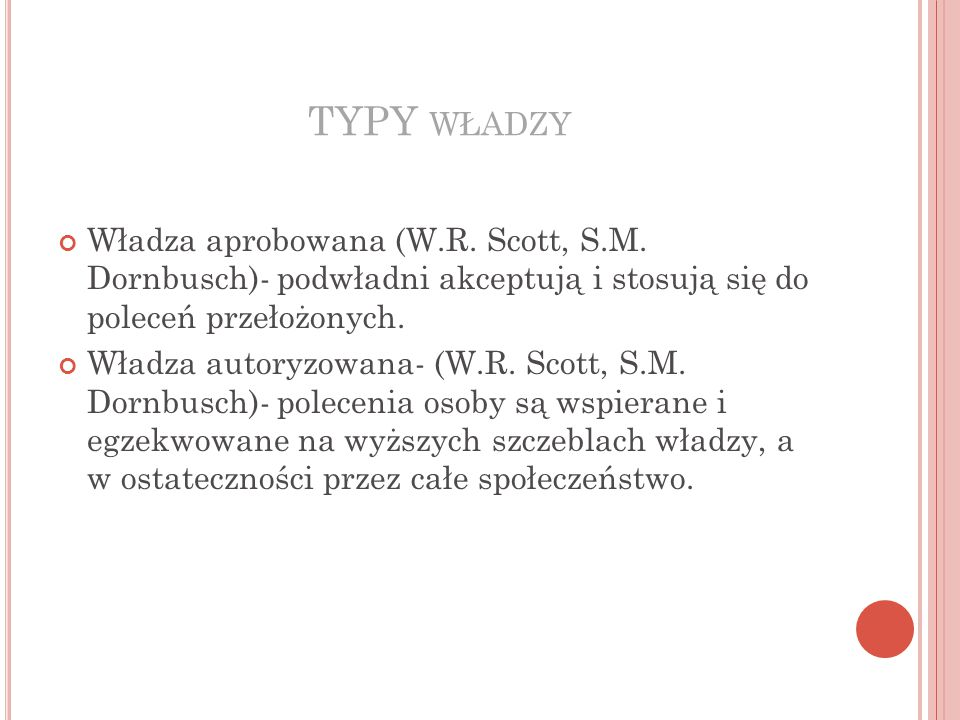TYPY WŁADZY Władza aprobowana (W.R.Scott, S.M.