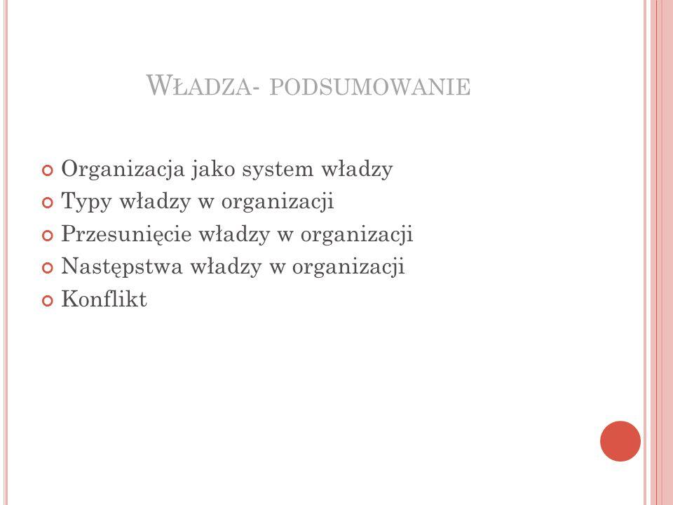 W ŁADZA - PODSUMOWANIE Organizacja jako system władzy Typy władzy w organizacji Przesunięcie władzy w organizacji Następstwa władzy w organizacji Konflikt