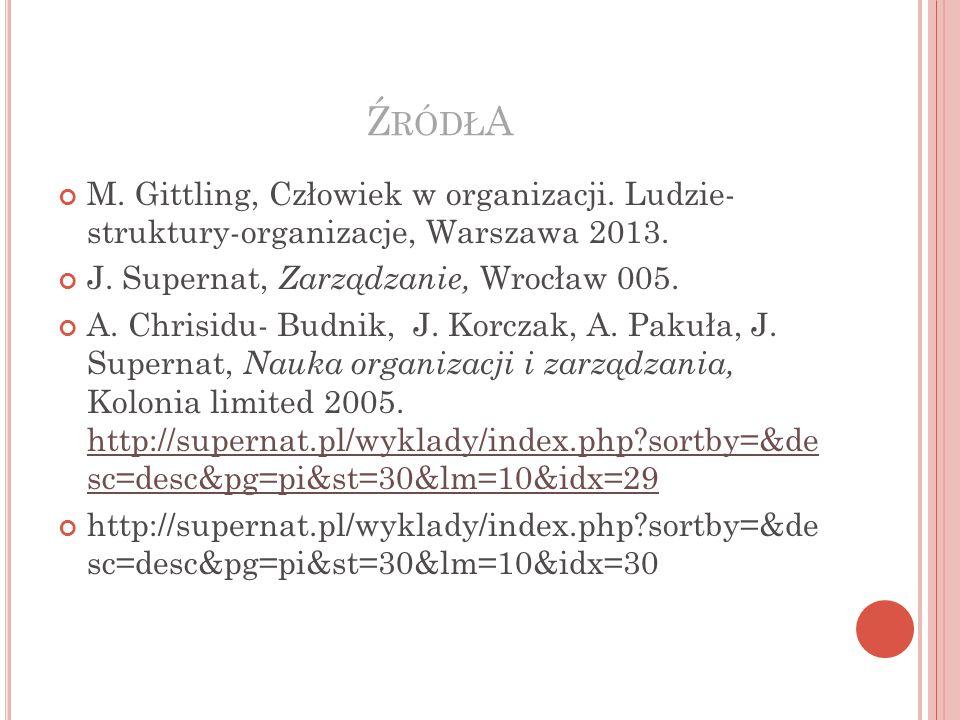 Ź RÓDŁ A M.Gittling, Człowiek w organizacji. Ludzie- struktury-organizacje, Warszawa 2013.