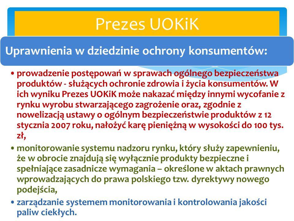 Prezes UOKiK Uprawnienia w dziedzinie ochrony konsumentów: prowadzenie postępowań w sprawach ogólnego bezpieczeństwa produktów - służących ochronie zd