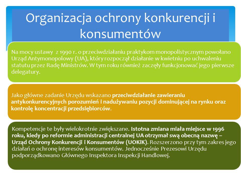 Organizacja ochrony konkurencji i konsumentów Na mocy ustawy z 1990 r. o przeciwdziałaniu praktykom monopolistycznym powołano Urząd Antymonopolowy (UA