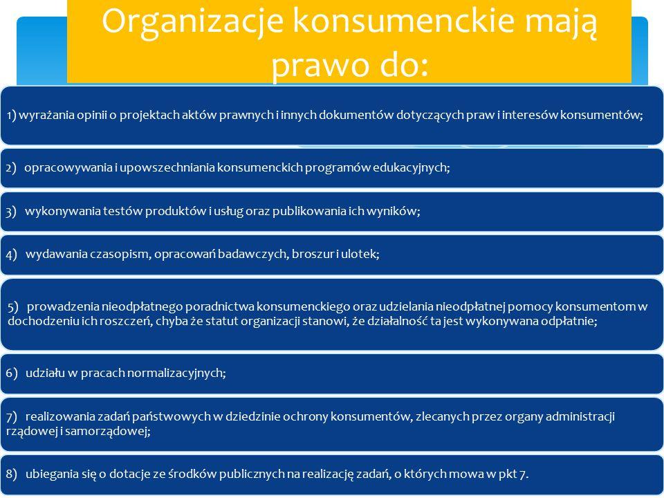 Organizacje konsumenckie mają prawo do: 1) wyrażania opinii o projektach aktów prawnych i innych dokumentów dotyczących praw i interesów konsumentów;