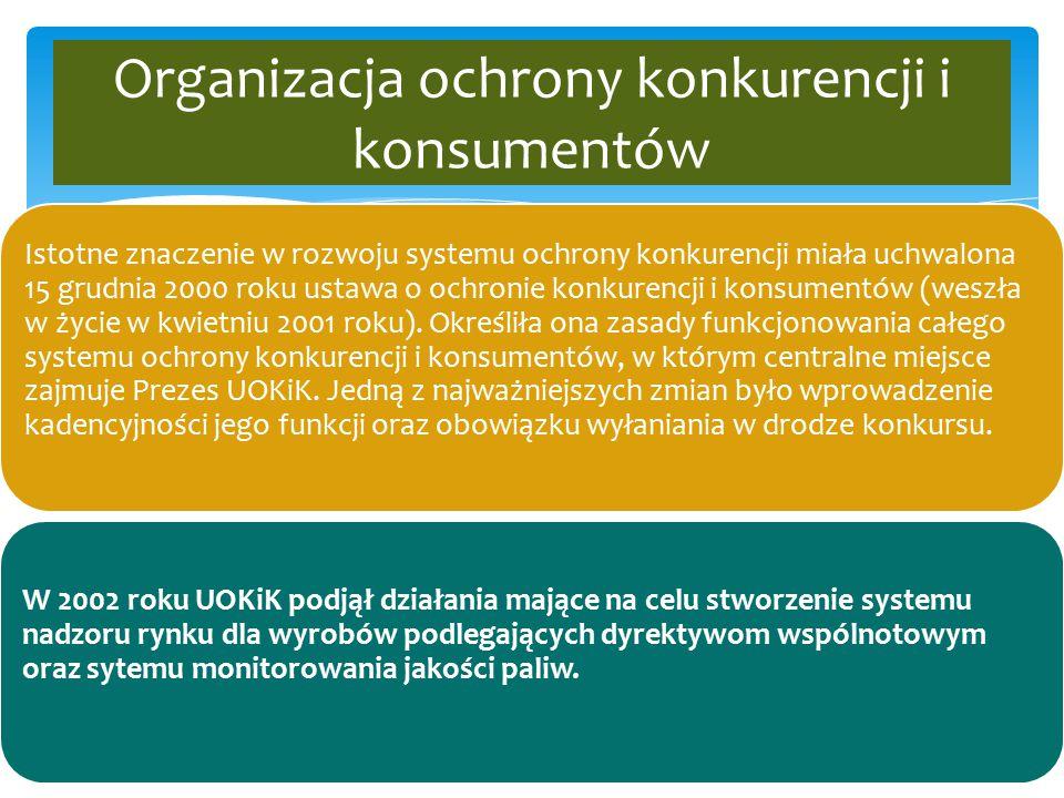 Organizacja ochrony konkurencji i konsumentów Istotne znaczenie w rozwoju systemu ochrony konkurencji miała uchwalona 15 grudnia 2000 roku ustawa o oc