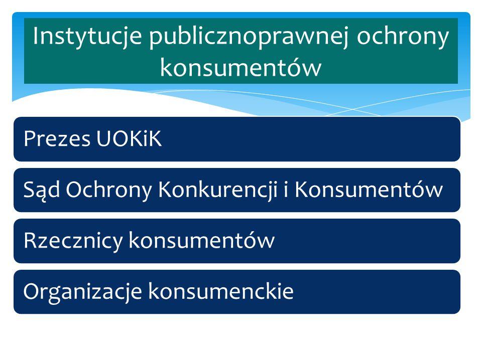 Prezes UOKiKSąd Ochrony Konkurencji i KonsumentówRzecznicy konsumentówOrganizacje konsumenckie Instytucje publicznoprawnej ochrony konsumentów