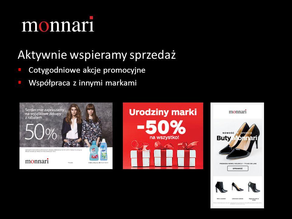 Aktywnie wspieramy sprzedaż  Cotygodniowe akcje promocyjne  Współpraca z innymi markami
