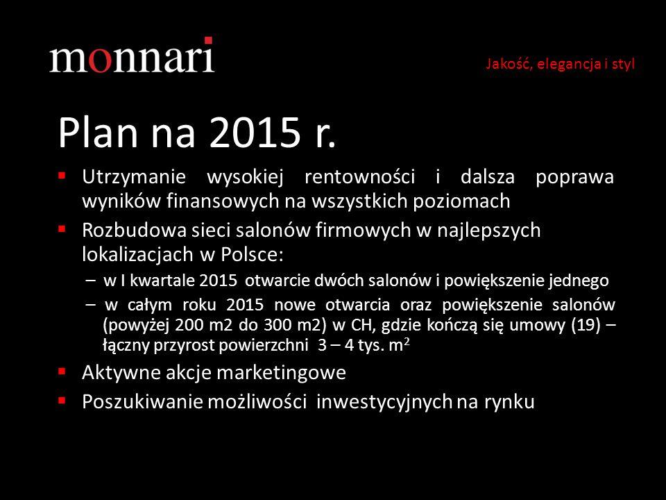 Plan na 2015 r.  Utrzymanie wysokiej rentowności i dalsza poprawa wyników finansowych na wszystkich poziomach  Rozbudowa sieci salonów firmowych w n