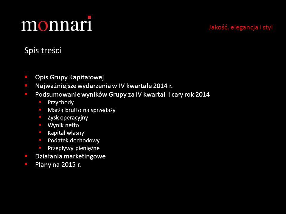 Spis treści  Opis Grupy Kapitałowej  Najważniejsze wydarzenia w IV kwartale 2014 r.  Podsumowanie wyników Grupy za IV kwartał i cały rok 2014  Prz
