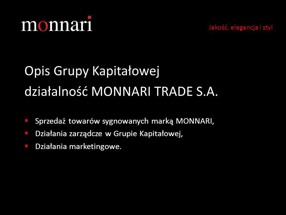 Opis Grupy Kapitałowej działalność MONNARI TRADE S.A.  Sprzedaż towarów sygnowanych marką MONNARI,  Działania zarządcze w Grupie Kapitałowej,  Dzia