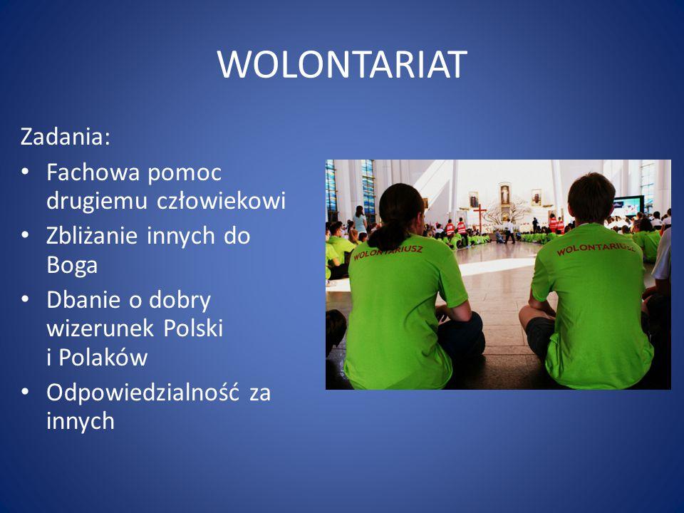 WOLONTARIAT Zadania: Fachowa pomoc drugiemu człowiekowi Zbliżanie innych do Boga Dbanie o dobry wizerunek Polski i Polaków Odpowiedzialność za innych