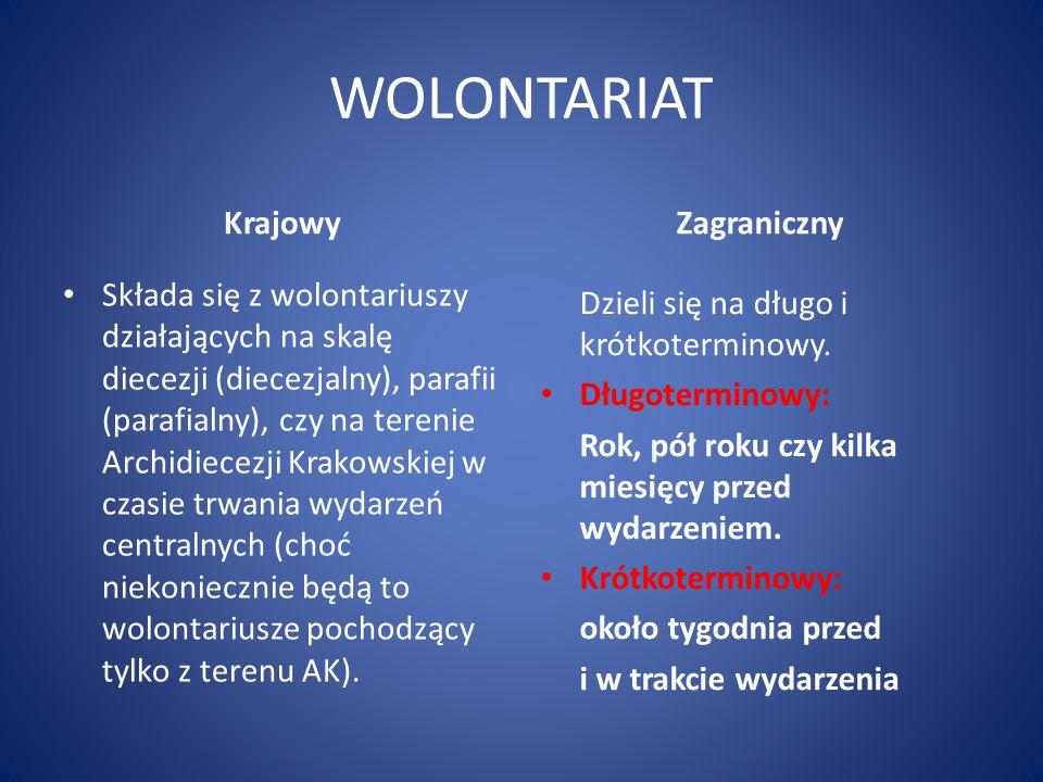 WOLONTARIAT KRAJOWY Komitet Organizacyjny ŚDM - Kraków długoterminowy -> wolontariusze, pracujący w poszczególnych sekcjach (na miejscu lub zdalnie) krótkoterminowy -> do przygotowania ŚDM (tydzień przygotowań plus tydzień służby w wydarzeniu)