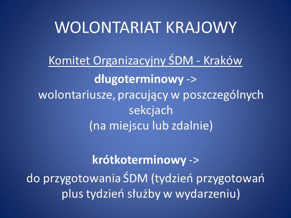 WOLONTARIAT KRAJOWY Komitet Organizacyjny ŚDM - Kraków długoterminowy -> wolontariusze, pracujący w poszczególnych sekcjach (na miejscu lub zdalnie) k