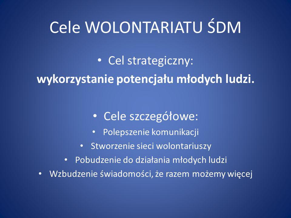 Cele WOLONTARIATU ŚDM Cel strategiczny: wykorzystanie potencjału młodych ludzi. Cele szczegółowe: Polepszenie komunikacji Stworzenie sieci wolontarius