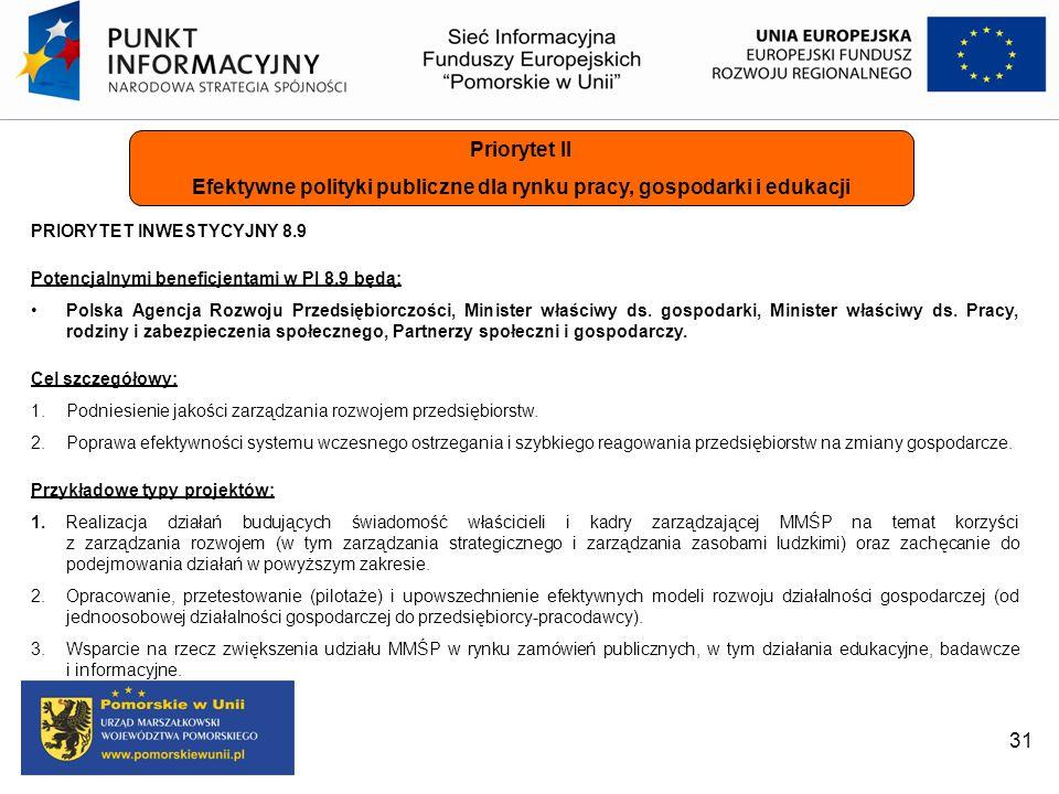 31 Priorytet II Efektywne polityki publiczne dla rynku pracy, gospodarki i edukacji PRIORYTET INWESTYCYJNY 8.9 Potencjalnymi beneficjentami w PI 8.9 b