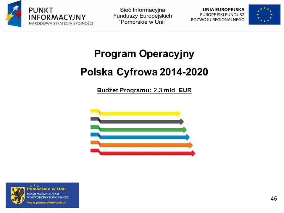 45 Program Operacyjny Polska Cyfrowa 2014-2020 Budżet Programu: 2,3 mld EUR