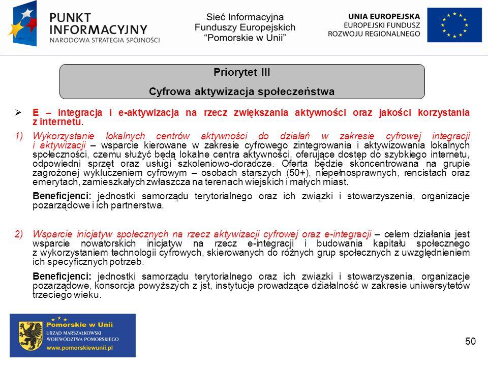 50  E – integracja i e-aktywizacja na rzecz zwiększania aktywności oraz jakości korzystania z internetu. 1)Wykorzystanie lokalnych centrów aktywności
