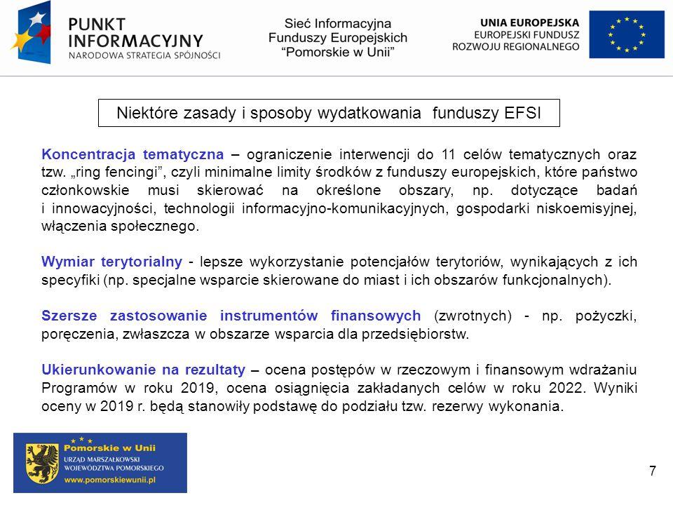 """Niektóre zasady i sposoby wydatkowania funduszy EFSI Koncentracja tematyczna – ograniczenie interwencji do 11 celów tematycznych oraz tzw. """"ring fenci"""