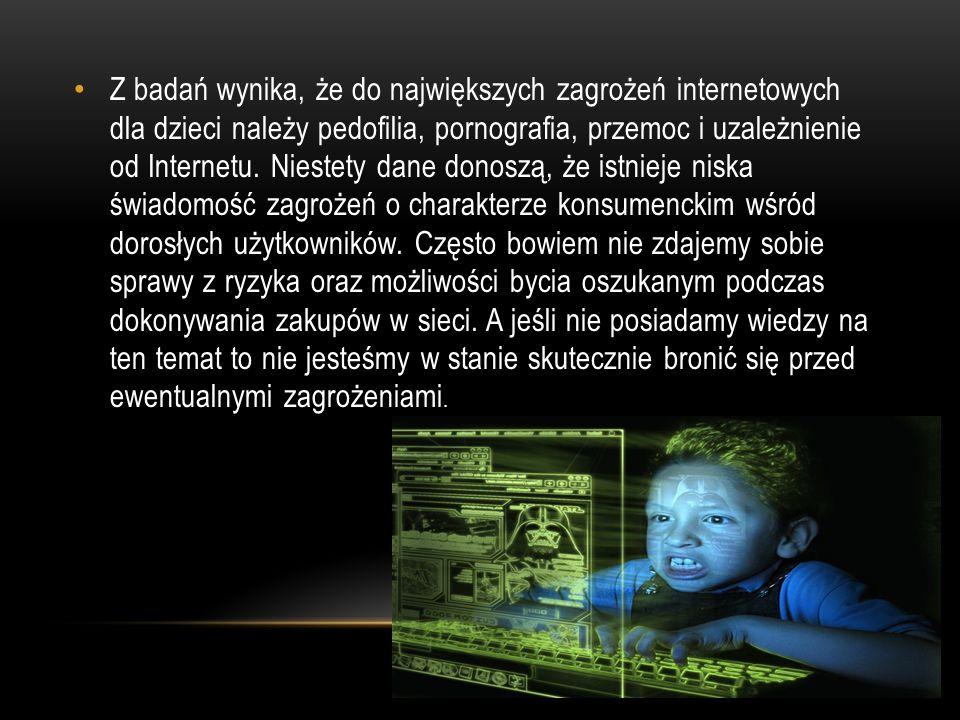 Z badań wynika, że do największych zagrożeń internetowych dla dzieci należy pedofilia, pornografia, przemoc i uzależnienie od Internetu.