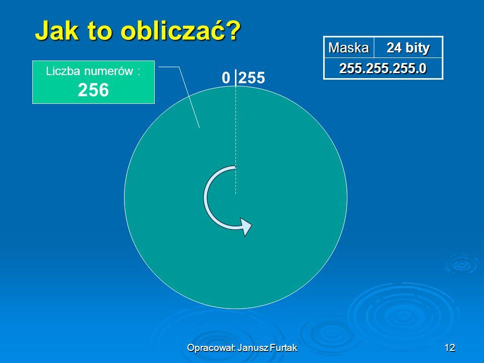 Opracował: Janusz Furtak12 Jak to obliczać? Maska 24 bity 255.255.255.0 0255 Liczba numerów : 256