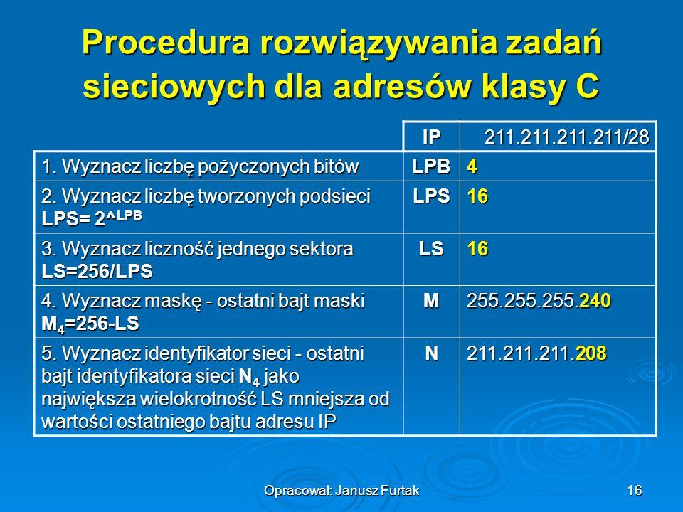 Opracował: Janusz Furtak16 Procedura rozwiązywania zadań sieciowych dla adresów klasy C IP211.211.211.211/28 1. Wyznacz liczbę pożyczonych bitów LPB4