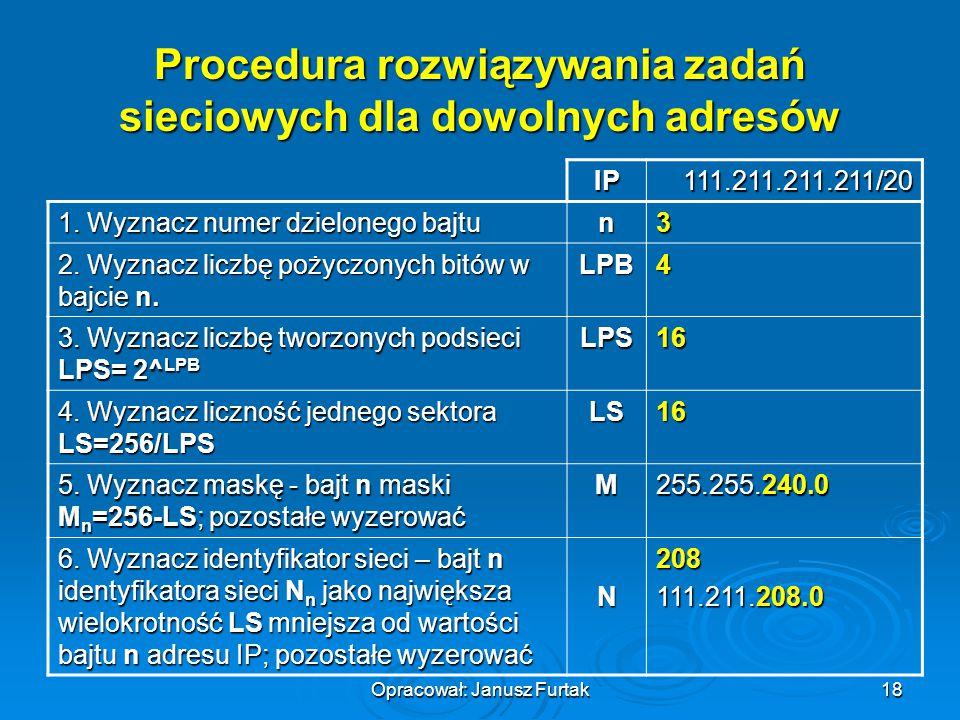 Opracował: Janusz Furtak18 Procedura rozwiązywania zadań sieciowych dla dowolnych adresów IP111.211.211.211/20 1. Wyznacz numer dzielonego bajtu n3 2.