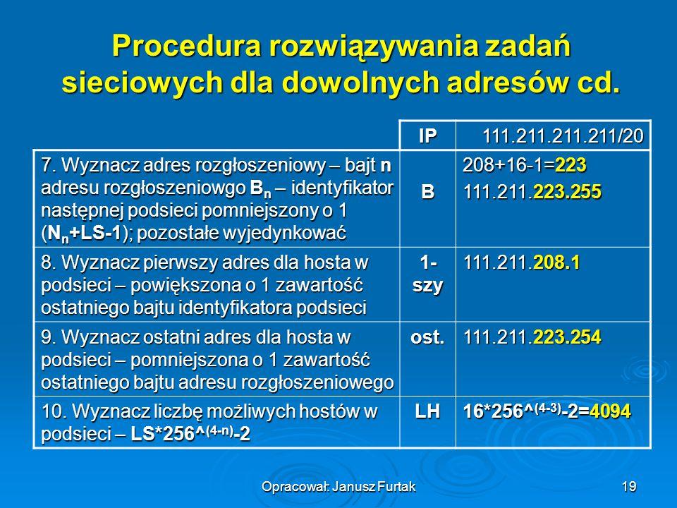 Opracował: Janusz Furtak19 Procedura rozwiązywania zadań sieciowych dla dowolnych adresów cd. IP111.211.211.211/20 7. Wyznacz adres rozgłoszeniowy – b