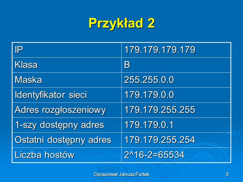 Opracował: Janusz Furtak3 Przykład 2 IP179.179.179.179 KlasaB Maska255.255.0.0 Identyfikator sieci 179.179.0.0 Adres rozgłoszeniowy 179.179.255.255 1-