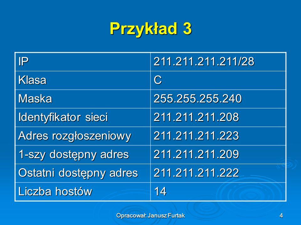 Opracował: Janusz Furtak4 Przykład 3 IP211.211.211.211/28 KlasaC Maska255.255.255.240 Identyfikator sieci 211.211.211.208 Adres rozgłoszeniowy 211.211