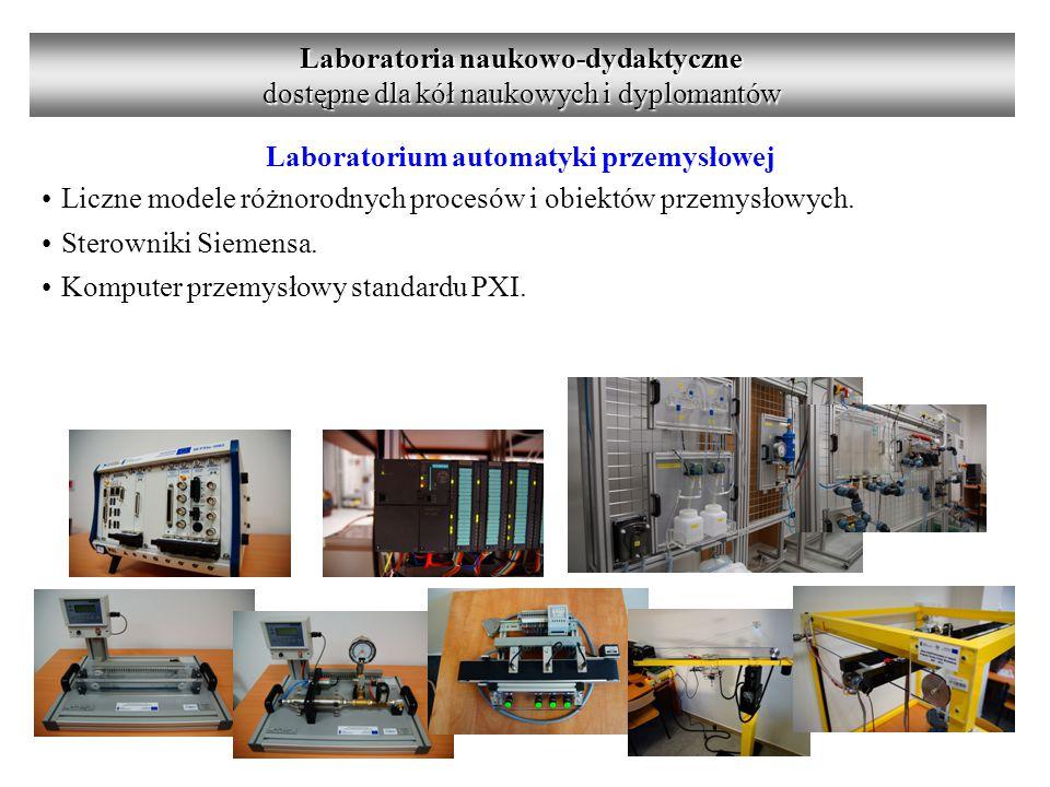 Laboratorium automatyki przemysłowej Liczne modele różnorodnych procesów i obiektów przemysłowych.