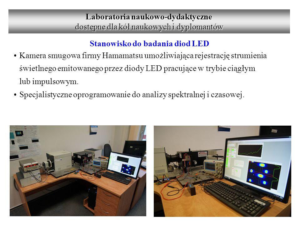 Stanowisko do badania diod LED Kamera smugowa firmy Hamamatsu umożliwiająca rejestrację strumienia świetlnego emitowanego przez diody LED pracujące w trybie ciągłym lub impulsowym.