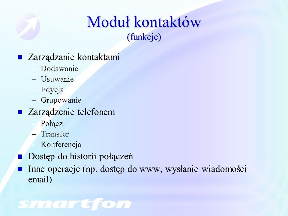 Moduł kontaktów (funkcje) Zarządzanie kontaktami –Dodawanie –Usuwanie –Edycja –Grupowanie Zarządzenie telefonem –Połącz –Transfer –Konferencja Dostęp