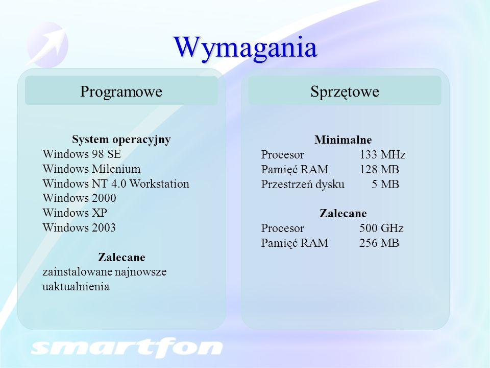Wymagania Sprzętowe Minimalne Procesor133 MHz Pamięć RAM128 MB Przestrzeń dysku 5 MB Zalecane Procesor500 GHz Pamięć RAM256 MB Programowe System opera