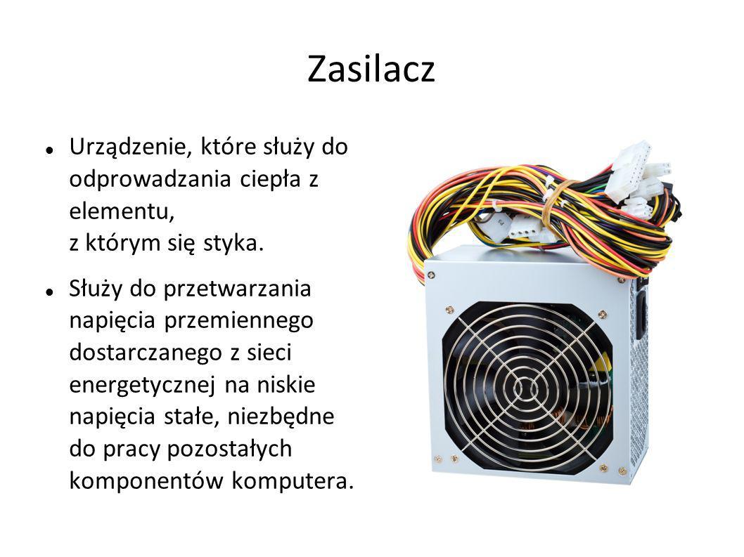 Zasilacz Urządzenie, które służy do odprowadzania ciepła z elementu, z którym się styka. Służy do przetwarzania napięcia przemiennego dostarczanego z