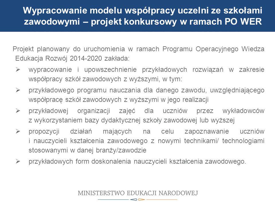Projekt planowany do uruchomienia w ramach Programu Operacyjnego Wiedza Edukacja Rozwój 2014-2020 zakłada:  wypracowanie i upowszechnienie przykładow