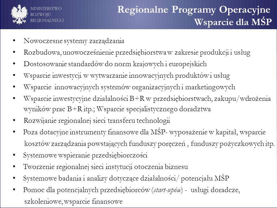 Regionalne Programy Operacyjne Wsparcie dla MŚP Nowoczesne systemy zarządzania Rozbudowa, unowocześnienie przedsiębiorstwa w zakresie produkcji i usłu