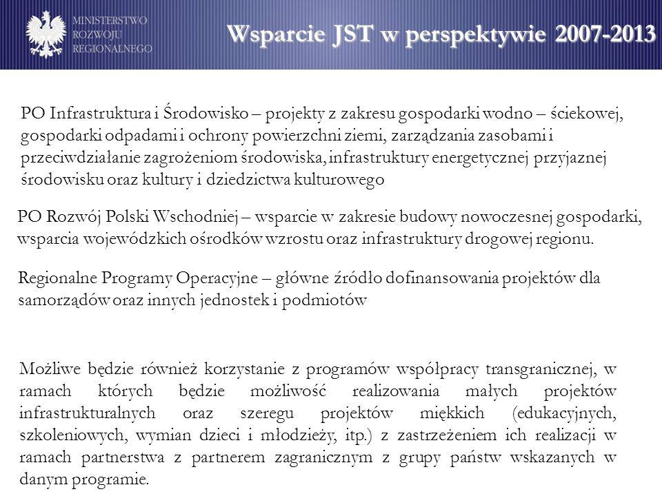 Wsparcie JST w perspektywie 2007-2013 PO Rozwój Polski Wschodniej – wsparcie w zakresie budowy nowoczesnej gospodarki, wsparcia wojewódzkich ośrodków