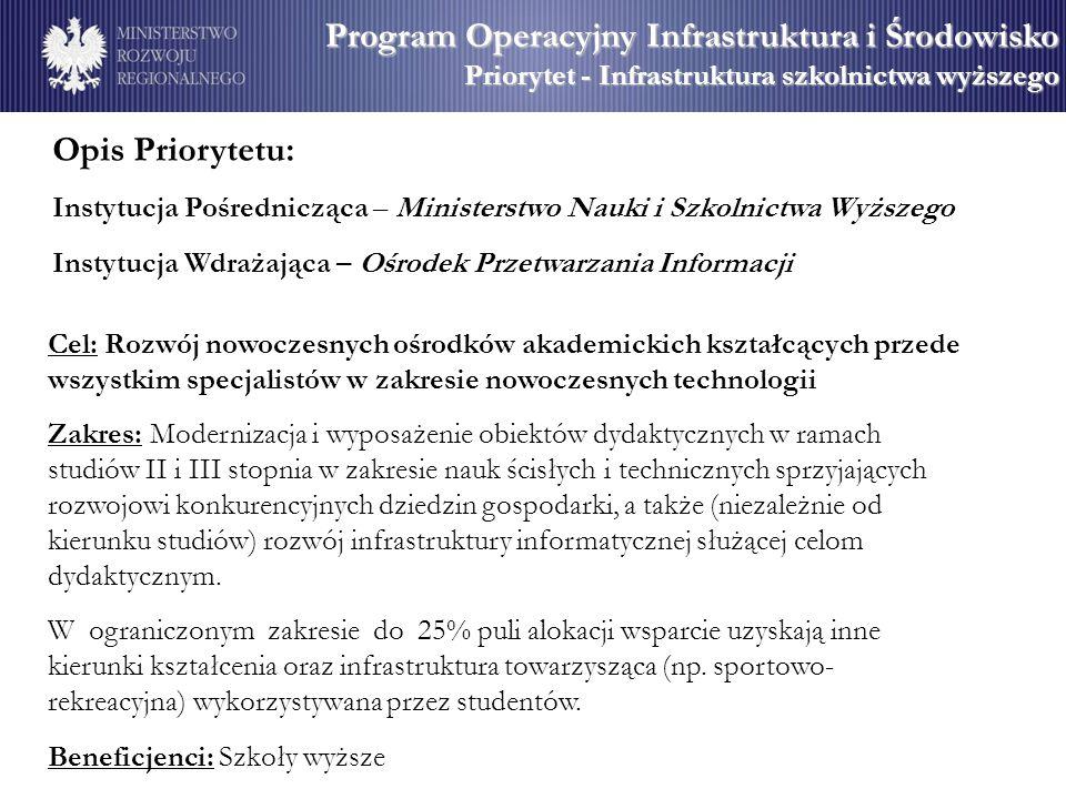 Opis Priorytetu: Instytucja Pośrednicząca – Ministerstwo Nauki i Szkolnictwa Wyższego Instytucja Wdrażająca – Ośrodek Przetwarzania Informacji Cel: Ro