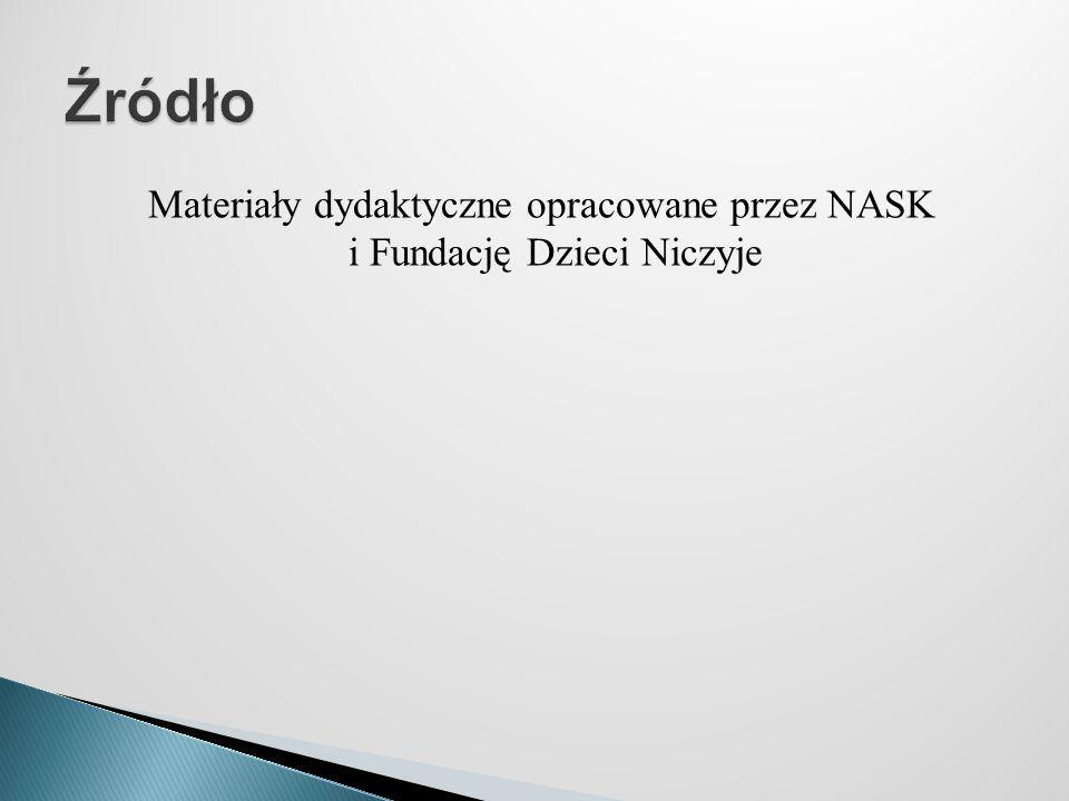 Materiały dydaktyczne opracowane przez NASK i Fundację Dzieci Niczyje