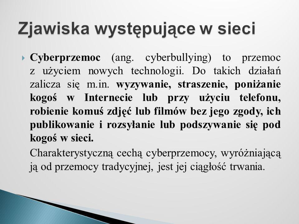  Cyberprzemoc (ang. cyberbullying) to przemoc z użyciem nowych technologii. Do takich działań zalicza się m.in. wyzywanie, straszenie, poniżanie kogo