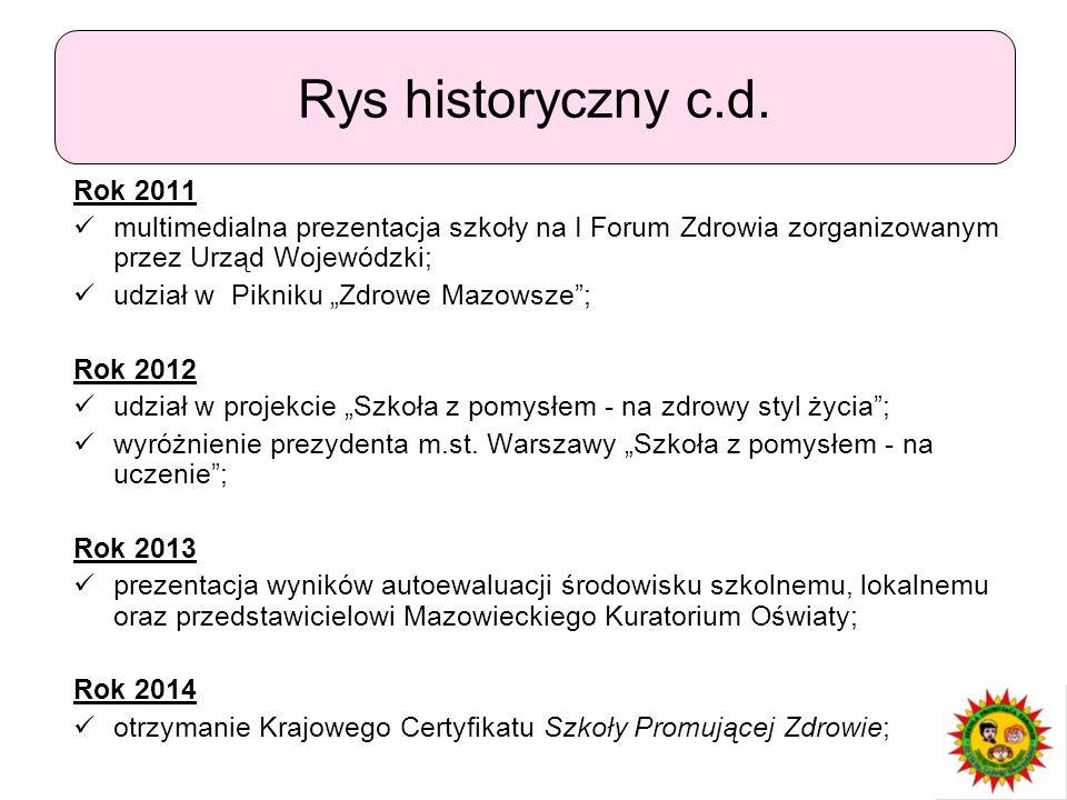 """Rok 2011 multimedialna prezentacja szkoły na I Forum Zdrowia zorganizowanym przez Urząd Wojewódzki; udział w Pikniku """"Zdrowe Mazowsze""""; Rok 2012 udzia"""