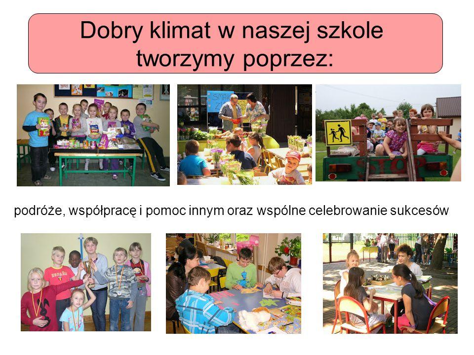 Dobry klimat w naszej szkole tworzymy poprzez: podróże, współpracę i pomoc innym oraz wspólne celebrowanie sukcesów
