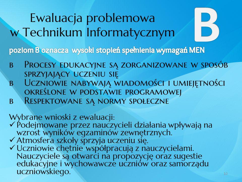 Ewaluacja problemowa w Technikum Informatycznym 10  Procesy edukacyjne są zorganizowane w sposób sprzyjający uczeniu się  Uczniowie nabywają wiadomo