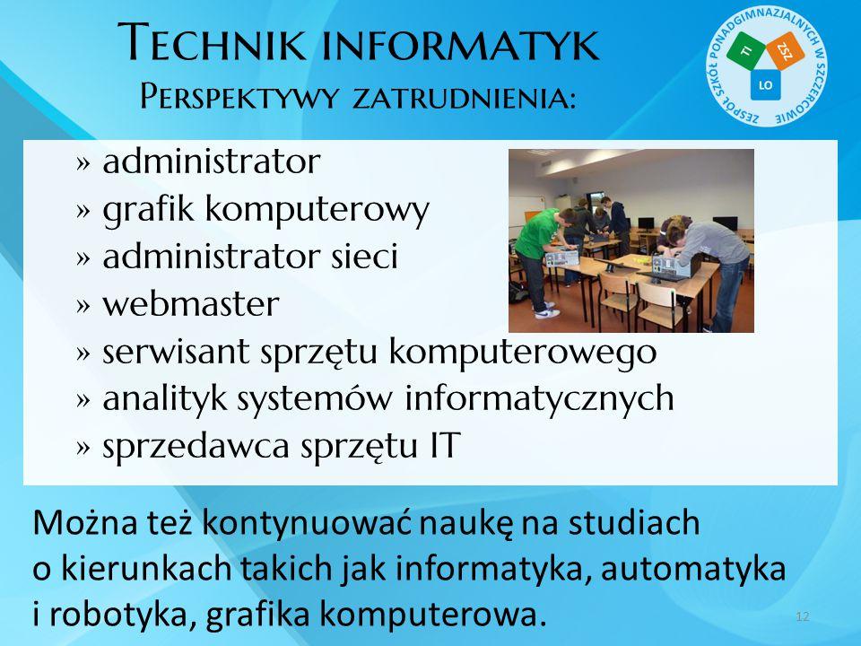 Technik informatyk Perspektywy zatrudnienia:  administrator  grafik komputerowy  administrator sieci  webmaster  serwisant sprzętu komputerowego
