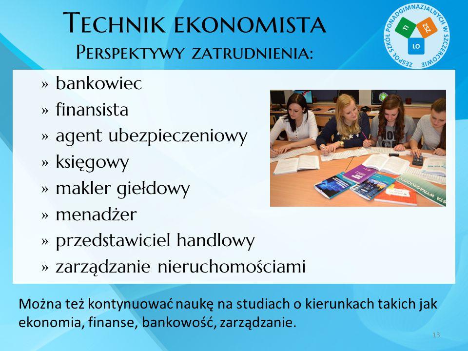 Technik ekonomista Perspektywy zatrudnienia:  bankowiec  finansista  agent ubezpieczeniowy  księgowy  makler giełdowy  menadżer  przedstawiciel