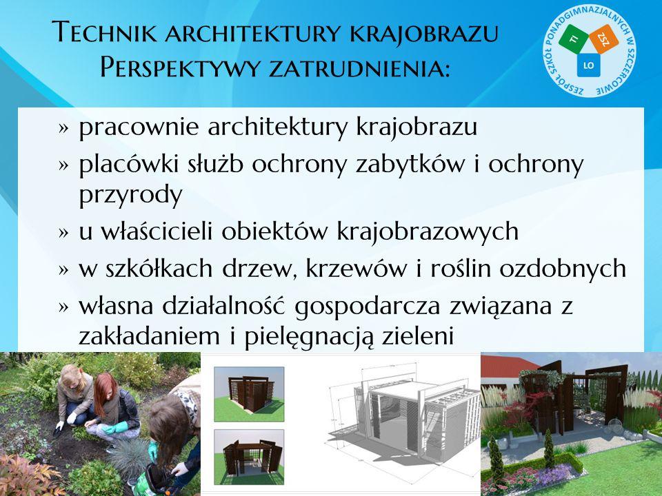 Technik architektury krajobrazu Perspektywy zatrudnienia:  pracownie architektury krajobrazu  placówki służb ochrony zabytków i ochrony przyrody  u