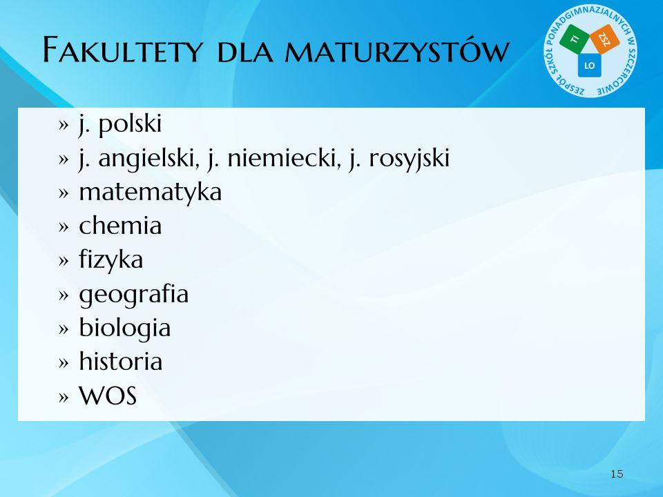 Fakultety dla maturzystów  j. polski  j. angielski, j. niemiecki, j. rosyjski  matematyka  chemia  fizyka  geografia  biologia  historia  WOS
