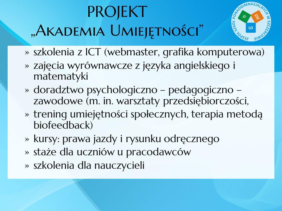 """PROJEKT """"Akademia Umiejętności""""  szkolenia z ICT (webmaster, grafika komputerowa)  zajęcia wyrównawcze z języka angielskiego i matematyki  doradztw"""
