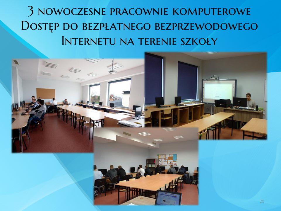 3 nowoczesne pracownie komputerowe Dostęp do bezpłatnego bezprzewodowego Internetu na terenie szkoły 21