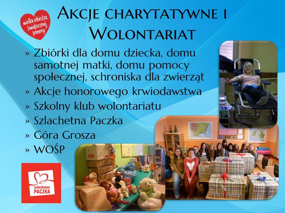 Akcje charytatywne i Wolontariat  Zbiórki dla domu dziecka, domu samotnej matki, domu pomocy społecznej, schroniska dla zwierząt  Akcje honorowego k